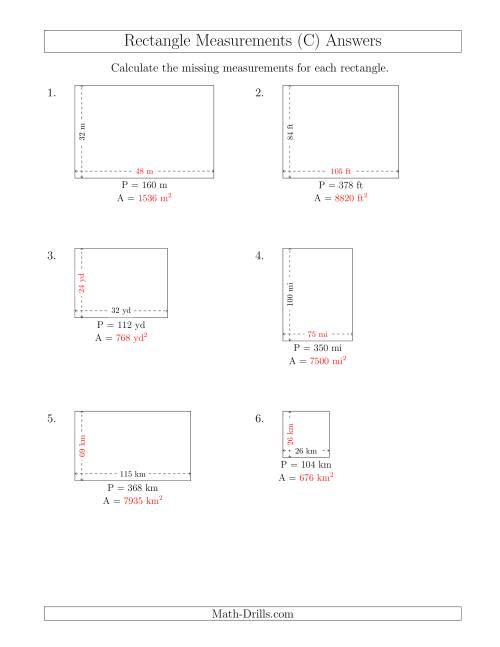 The Calculating the Side and Area Measurements of Rectangles from Perimeter and Side Measurements (Larger Whole Numbers) (C) Math Worksheet Page 2