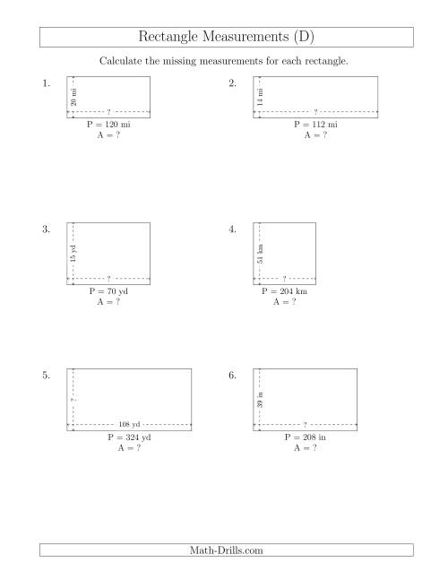 The Calculating the Side and Area Measurements of Rectangles from Perimeter and Side Measurements (Larger Whole Numbers) (D) Math Worksheet