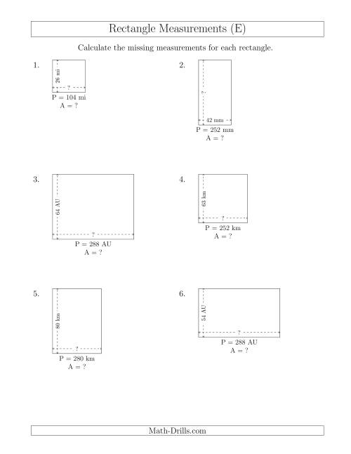 The Calculating the Side and Area Measurements of Rectangles from Perimeter and Side Measurements (Larger Whole Numbers) (E) Math Worksheet