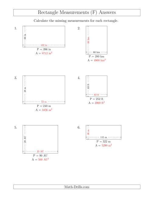 The Calculating the Side and Area Measurements of Rectangles from Perimeter and Side Measurements (Larger Whole Numbers) (F) Math Worksheet Page 2