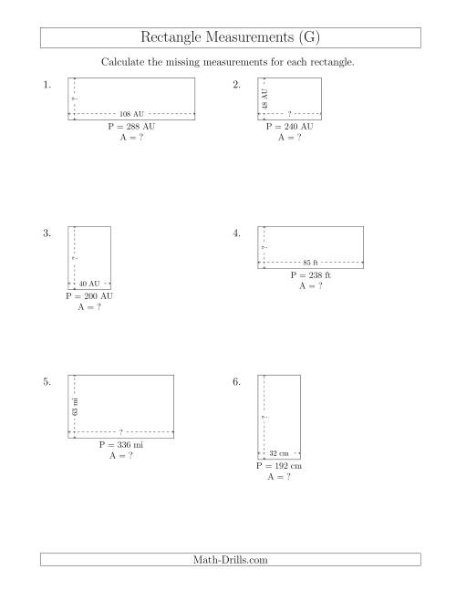 The Calculating the Side and Area Measurements of Rectangles from Perimeter and Side Measurements (Larger Whole Numbers) (G) Math Worksheet