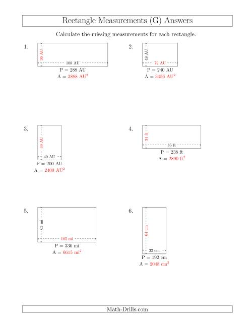 The Calculating the Side and Area Measurements of Rectangles from Perimeter and Side Measurements (Larger Whole Numbers) (G) Math Worksheet Page 2