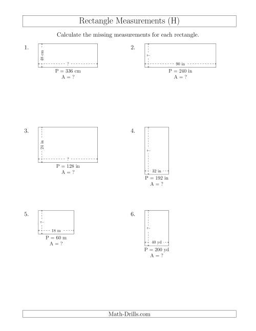 The Calculating the Side and Area Measurements of Rectangles from Perimeter and Side Measurements (Larger Whole Numbers) (H) Math Worksheet