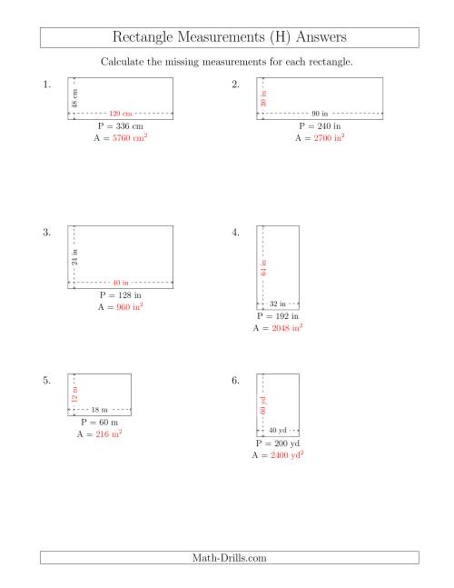 The Calculating the Side and Area Measurements of Rectangles from Perimeter and Side Measurements (Larger Whole Numbers) (H) Math Worksheet Page 2