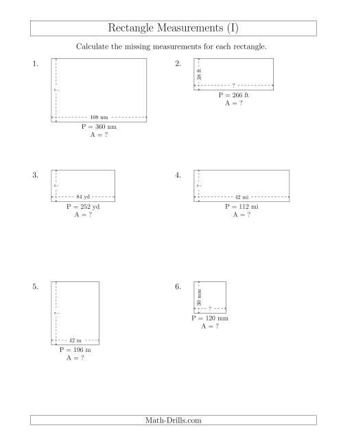 The Calculating the Side and Area Measurements of Rectangles from Perimeter and Side Measurements (Larger Whole Numbers) (I) Math Worksheet