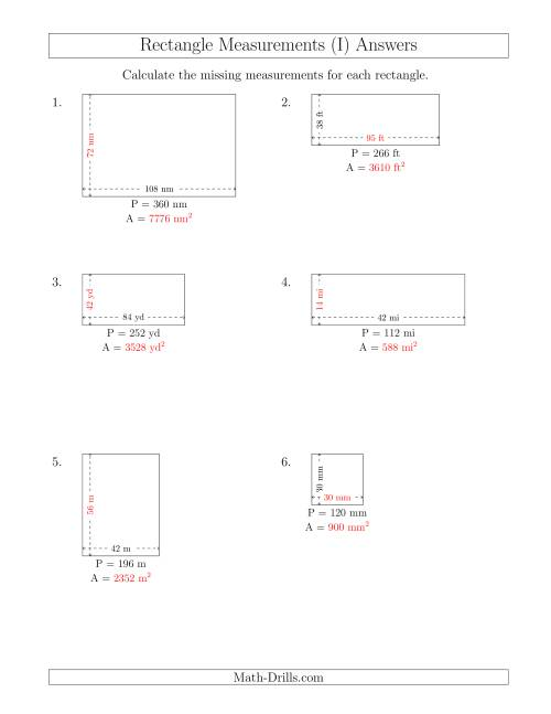The Calculating the Side and Area Measurements of Rectangles from Perimeter and Side Measurements (Larger Whole Numbers) (I) Math Worksheet Page 2