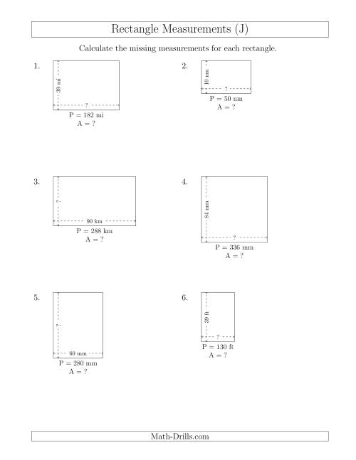 The Calculating the Side and Area Measurements of Rectangles from Perimeter and Side Measurements (Larger Whole Numbers) (J) Math Worksheet
