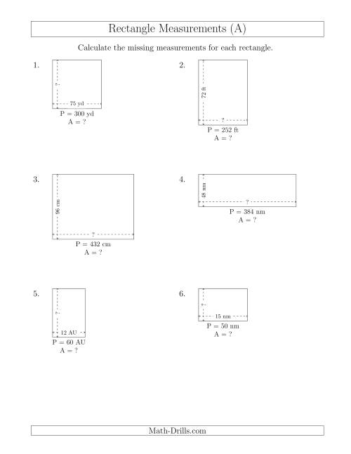 The Calculating the Side and Area Measurements of Rectangles from Perimeter and Side Measurements (Larger Whole Numbers) (All) Math Worksheet