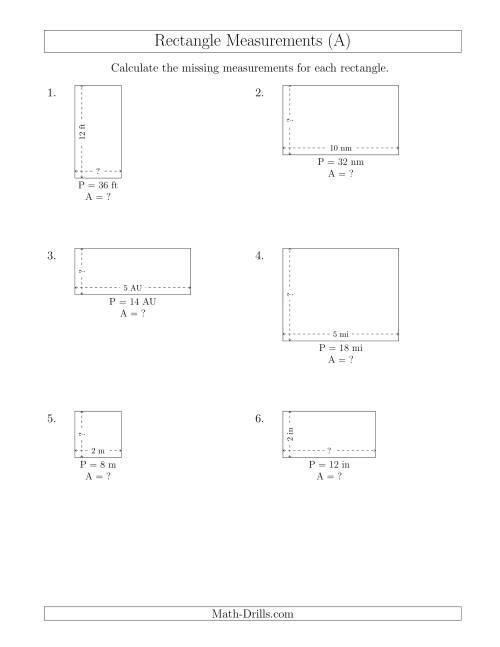 The Calculating the Side and Area Measurements of Rectangles from Perimeter and Side Measurements (Smaller Whole Numbers) (A) Math Worksheet