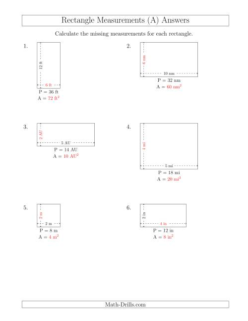 The Calculating the Side and Area Measurements of Rectangles from Perimeter and Side Measurements (Smaller Whole Numbers) (A) Math Worksheet Page 2