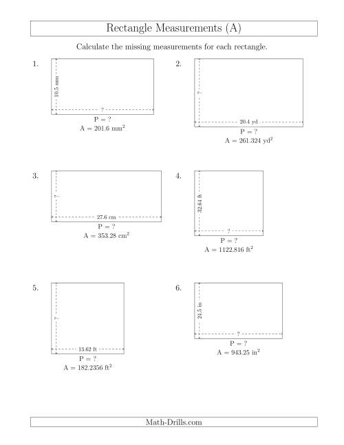 The Calculating the Side and Perimeter Measurements of Rectangles from Area and Side Measurements (Decimal Numbers) (A) Math Worksheet