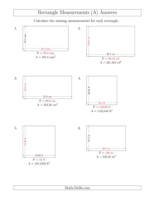 The Calculating the Side and Perimeter Measurements of Rectangles from Area and Side Measurements (Decimal Numbers) (A) Math Worksheet Page 2