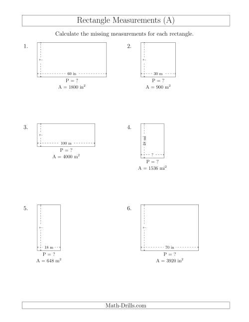 The Calculating the Side and Perimeter Measurements of Rectangles from Area and Side Measurements (Larger Whole Numbers) (A) Math Worksheet