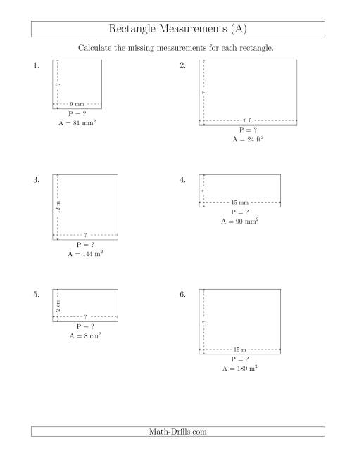 The Calculating the Side and Perimeter Measurements of Rectangles from Area and Side Measurements (Smaller Whole Numbers) (A) Math Worksheet