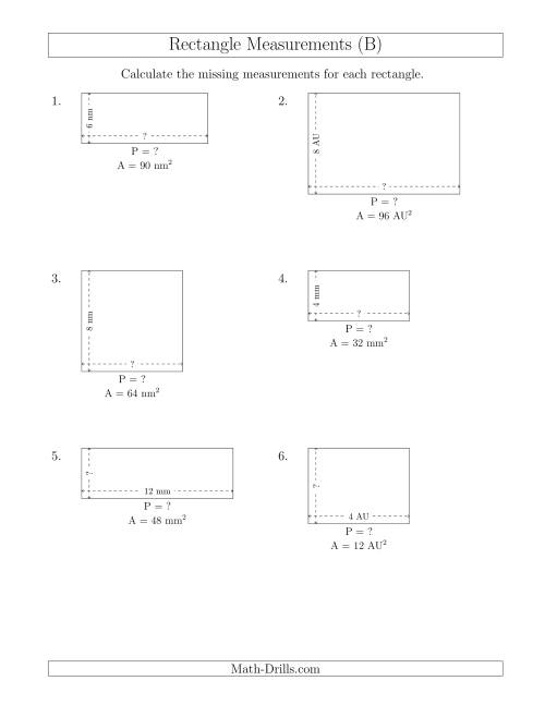 The Calculating the Side and Perimeter Measurements of Rectangles from Area and Side Measurements (Smaller Whole Numbers) (B) Math Worksheet