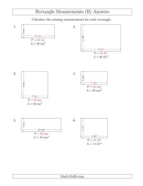 The Calculating the Side and Perimeter Measurements of Rectangles from Area and Side Measurements (Smaller Whole Numbers) (B) Math Worksheet Page 2