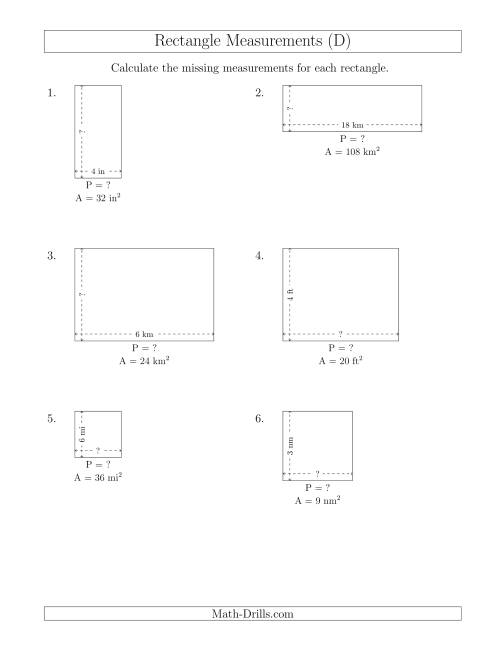 The Calculating the Side and Perimeter Measurements of Rectangles from Area and Side Measurements (Smaller Whole Numbers) (D) Math Worksheet