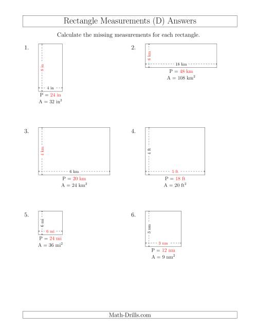 The Calculating the Side and Perimeter Measurements of Rectangles from Area and Side Measurements (Smaller Whole Numbers) (D) Math Worksheet Page 2