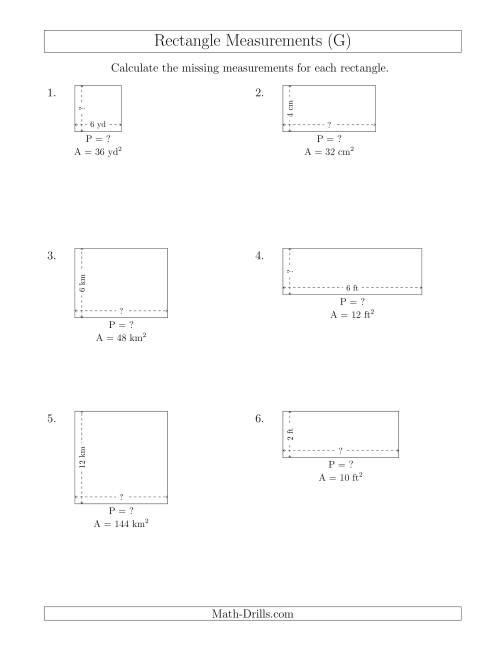 The Calculating the Side and Perimeter Measurements of Rectangles from Area and Side Measurements (Smaller Whole Numbers) (G) Math Worksheet