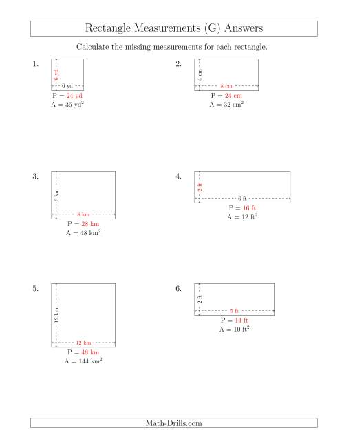 The Calculating the Side and Perimeter Measurements of Rectangles from Area and Side Measurements (Smaller Whole Numbers) (G) Math Worksheet Page 2