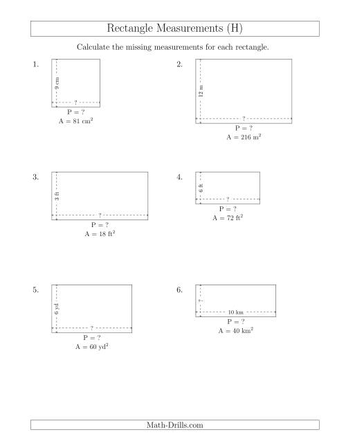 The Calculating the Side and Perimeter Measurements of Rectangles from Area and Side Measurements (Smaller Whole Numbers) (H) Math Worksheet