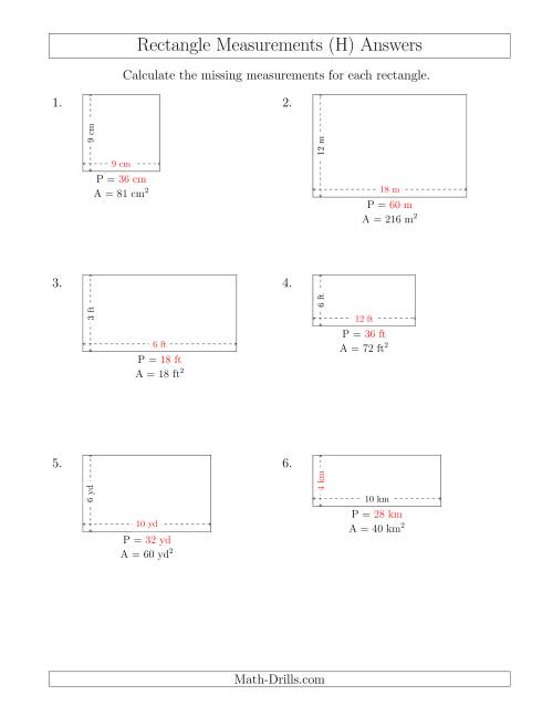The Calculating the Side and Perimeter Measurements of Rectangles from Area and Side Measurements (Smaller Whole Numbers) (H) Math Worksheet Page 2