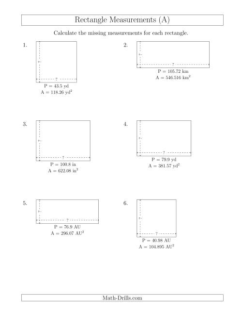 The Calculating the Side Measurements of Rectangles from Area and Perimeter (Decimal Numbers) (A) Math Worksheet