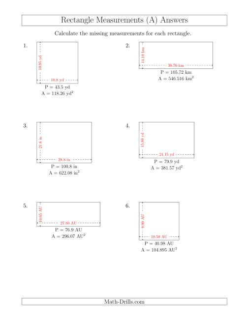 The Calculating the Side Measurements of Rectangles from Area and Perimeter (Decimal Numbers) (A) Math Worksheet Page 2