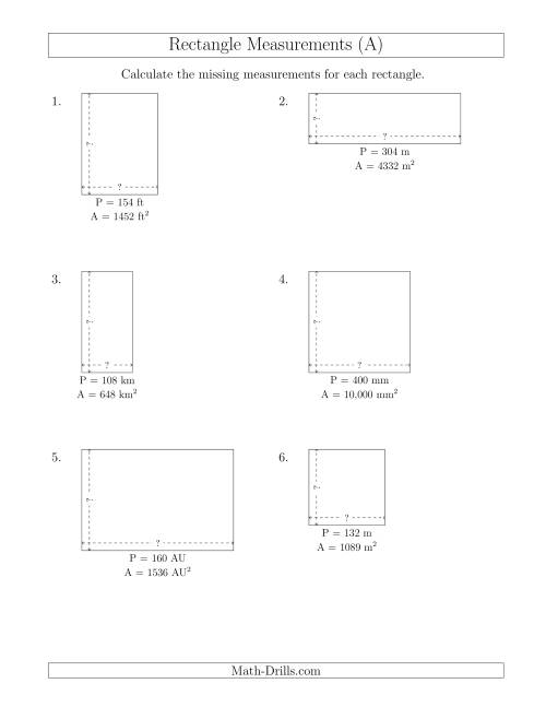 The Calculating the Side Measurements of Rectangles from Area and Perimeter (Larger Whole Numbers) (A) Math Worksheet
