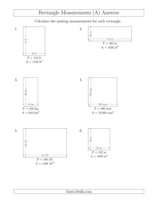 The Calculating the Side Measurements of Rectangles from Area and Perimeter (Larger Whole Numbers) (A) Math Worksheet Page 2