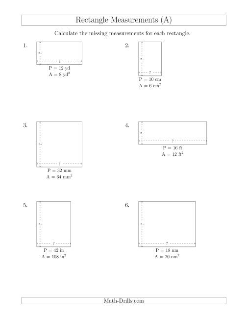 The Calculating the Side Measurements of Rectangles from Area and Perimeter (Smaller Whole Numbers) (A) Math Worksheet