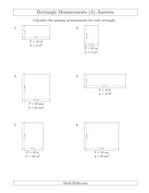 The Calculating the Side Measurements of Rectangles from Area and Perimeter (Smaller Whole Numbers) (A) Math Worksheet Page 2