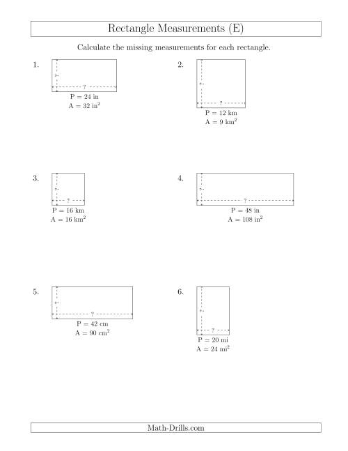 The Calculating the Side Measurements of Rectangles from Area and Perimeter (Smaller Whole Numbers) (E) Math Worksheet
