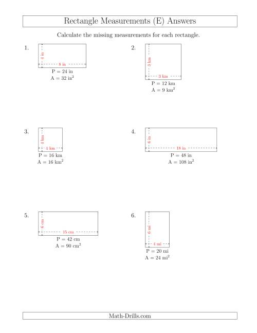 The Calculating the Side Measurements of Rectangles from Area and Perimeter (Smaller Whole Numbers) (E) Math Worksheet Page 2