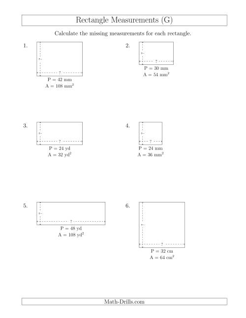 The Calculating the Side Measurements of Rectangles from Area and Perimeter (Smaller Whole Numbers) (G) Math Worksheet