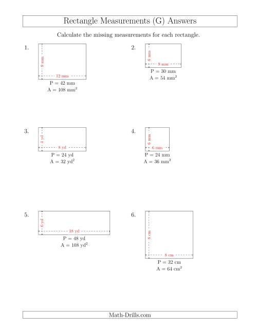 The Calculating the Side Measurements of Rectangles from Area and Perimeter (Smaller Whole Numbers) (G) Math Worksheet Page 2