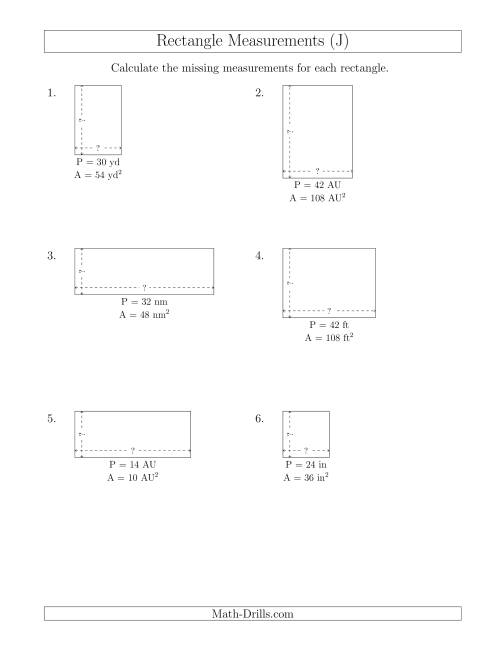 The Calculating the Side Measurements of Rectangles from Area and Perimeter (Smaller Whole Numbers) (J) Math Worksheet