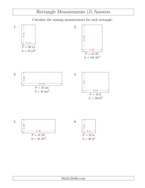 The Calculating the Side Measurements of Rectangles from Area and Perimeter (Smaller Whole Numbers) (J) Math Worksheet Page 2