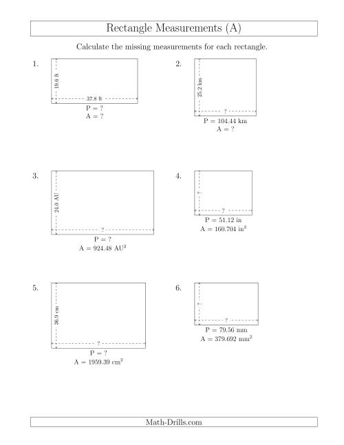 calculating various rectangle measurements decimal numbers a measurement worksheet. Black Bedroom Furniture Sets. Home Design Ideas