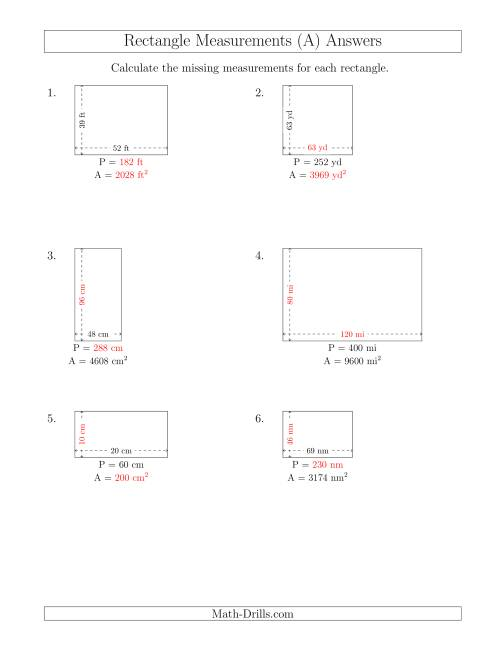 The Calculating Various Rectangle Measurements (Larger Whole Numbers) (A) Math Worksheet Page 2