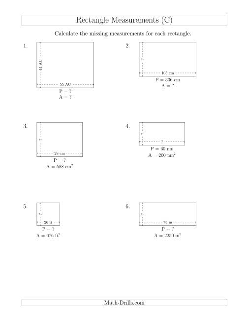 The Calculating Various Rectangle Measurements (Larger Whole Numbers) (C) Math Worksheet