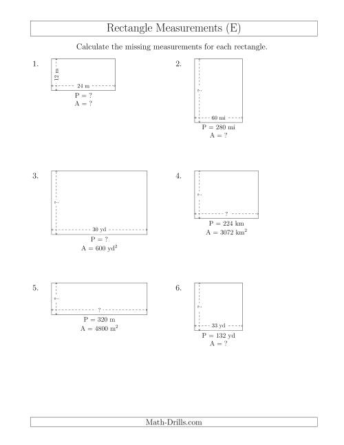 The Calculating Various Rectangle Measurements (Larger Whole Numbers) (E) Math Worksheet