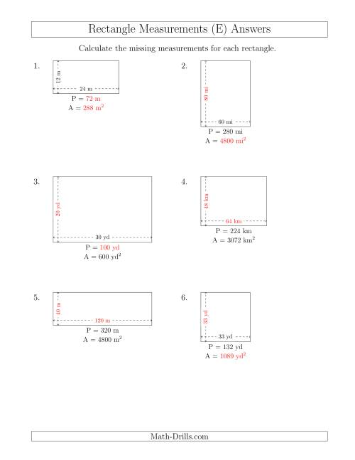 The Calculating Various Rectangle Measurements (Larger Whole Numbers) (E) Math Worksheet Page 2