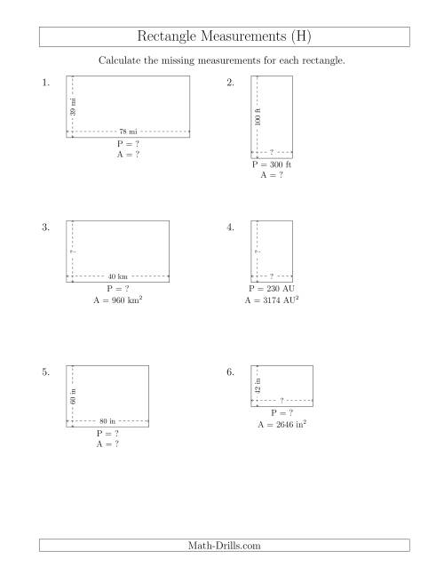 The Calculating Various Rectangle Measurements (Larger Whole Numbers) (H) Math Worksheet