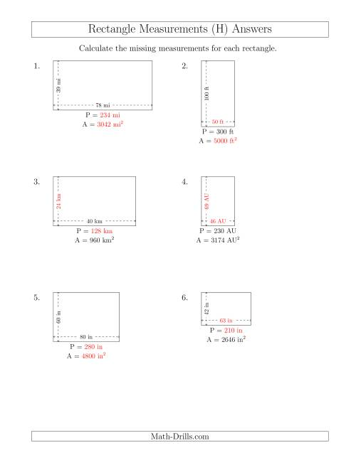 The Calculating Various Rectangle Measurements (Larger Whole Numbers) (H) Math Worksheet Page 2