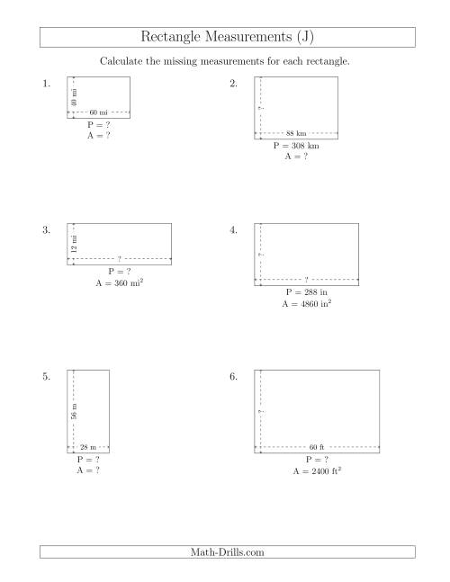 The Calculating Various Rectangle Measurements (Larger Whole Numbers) (J) Math Worksheet