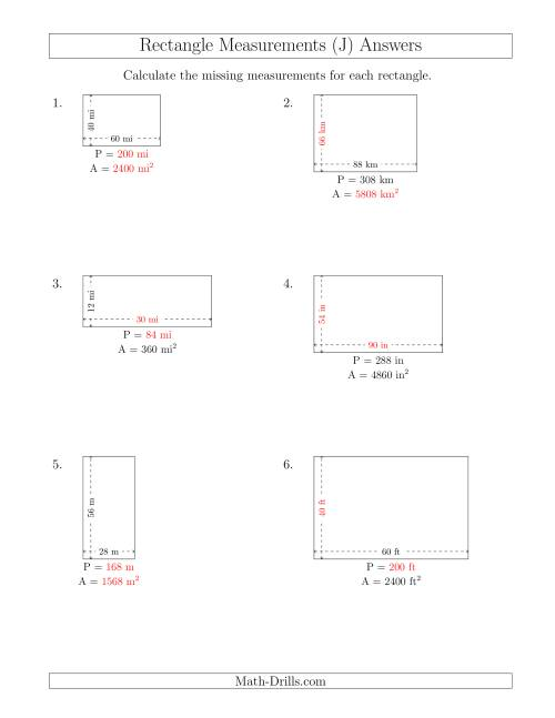The Calculating Various Rectangle Measurements (Larger Whole Numbers) (J) Math Worksheet Page 2
