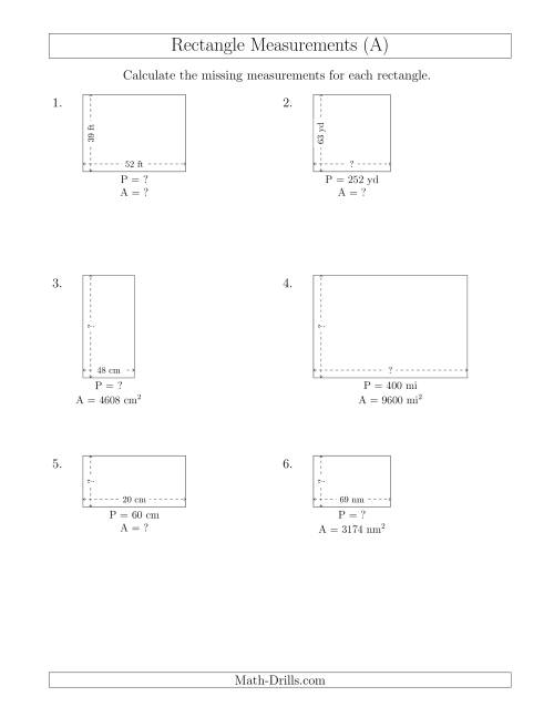 The Calculating Various Rectangle Measurements (Larger Whole Numbers) (All) Math Worksheet