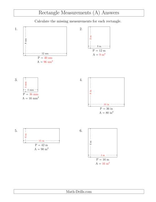 The Calculating Various Rectangle Measurements (Smaller Whole Numbers) (A) Math Worksheet Page 2