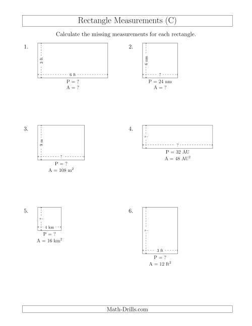 The Calculating Various Rectangle Measurements (Smaller Whole Numbers) (C) Math Worksheet